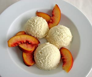 ice cream, peach, and food image