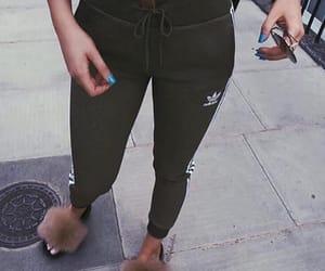 adidas, khaki, and flipflops image