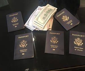 money, passport, and travel image
