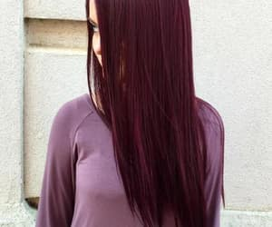 black hair, look, and red image