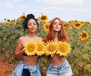 girl, redhead, and sunflower image
