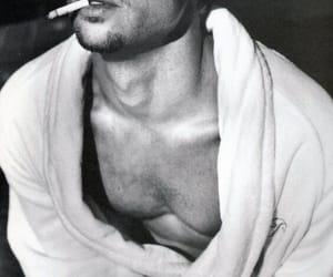 brad pitt, black and white, and smoke image