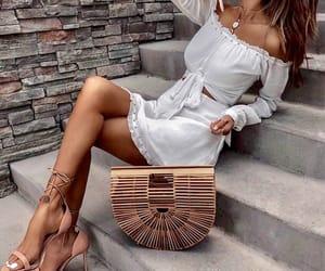 bag, fashion, and white dress image