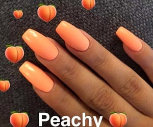 nails, orange, and girl image