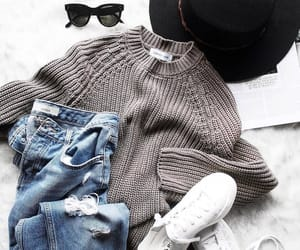 hat, jean, and knit image