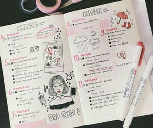 bullet journal, pink, and journal image
