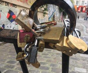 couple, locks, and fence image