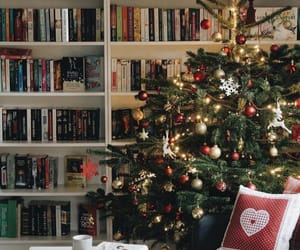 books, garland, and tree image