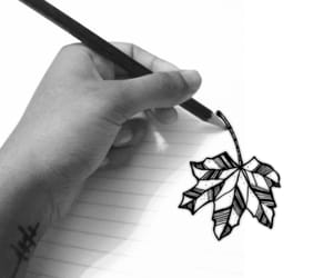 art, draw, and leaf image