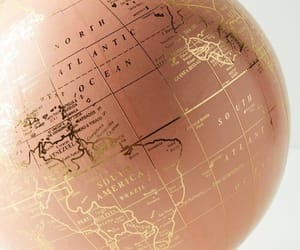 world, globe, and rose gold image