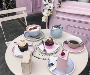 cake, hot drink, and coffee image