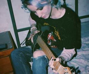guitar, grunge, and hair image