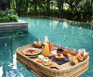 food, pool, and summer image