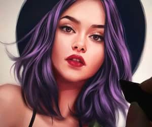 art, hair, and purple image
