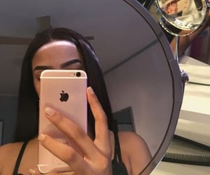 girl, iphone, and mirror image