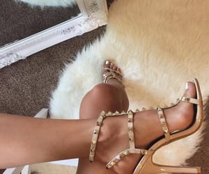 gold, luxurious, and heels image