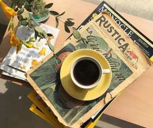 coffee, yellow, and aesthetic image