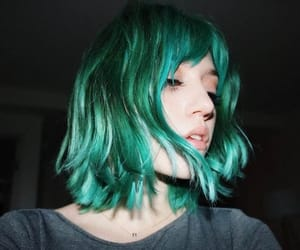 colorful hair, green, and green hair image