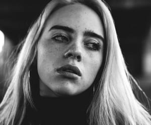billie eilish, black and white, and billie image