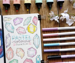colours, journaling, and pastel image