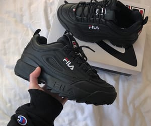 Fila, black, and shoes image