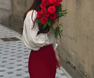 aesthetic, red, and flowers image