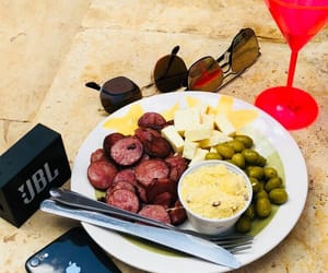 food, iphone, and sunglasses image