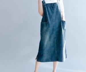 blue dress, pocket dress, and etsy image
