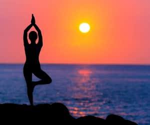 evening, sunset, and yoga image