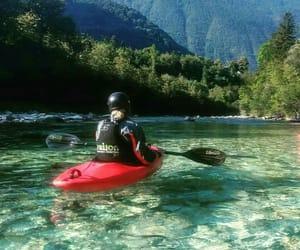blue water, kayak, and girl image