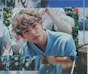 blue, taehyung, and lockscreen kpop image
