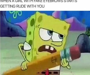 funny, eyebrows, and spongebob image