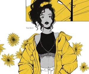 drawing, yellow, and flowers image