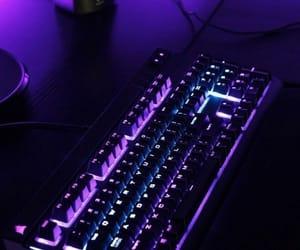 purple, keyboard, and aesthetic image