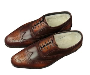 brown leather shoes, handmade leather shoes, and men brogue shoes image
