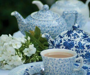 blue, tea, and white image