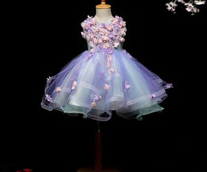 flower dress, tulle, and wedding image