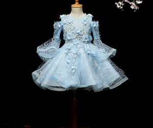 flower, lace, and sky blue dress image