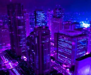 city, light, and purple image