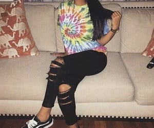 girl, ponytail, and ripped jeans image