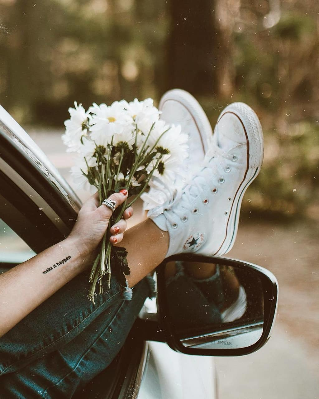 flowers, converse, and style image