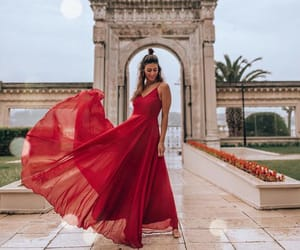 beauty, red, and fashion dress image