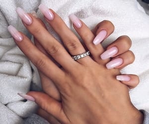 in love, nails, and pink image