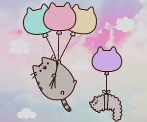 balloons, sky, and pusheen image