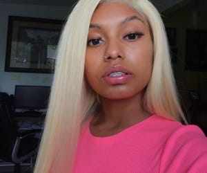 blonde, eyebrows, and lipgloss image