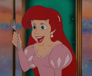 ariel, disney, and fork image