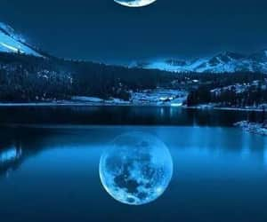 moon, night, and blue image