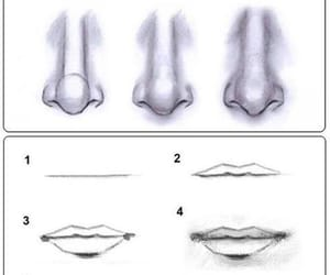 nose, drawing, and lips image