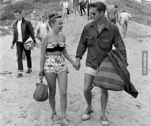 couple, beach, and 50s image