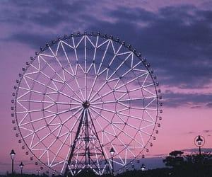 purple, ferris wheel, and sky image